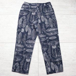 Ann Taylor Stretch Boat Graphic Cropped Blue Pants